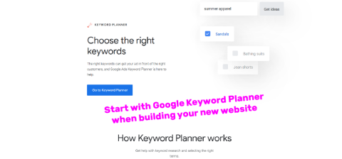 website seo googe keyword planner